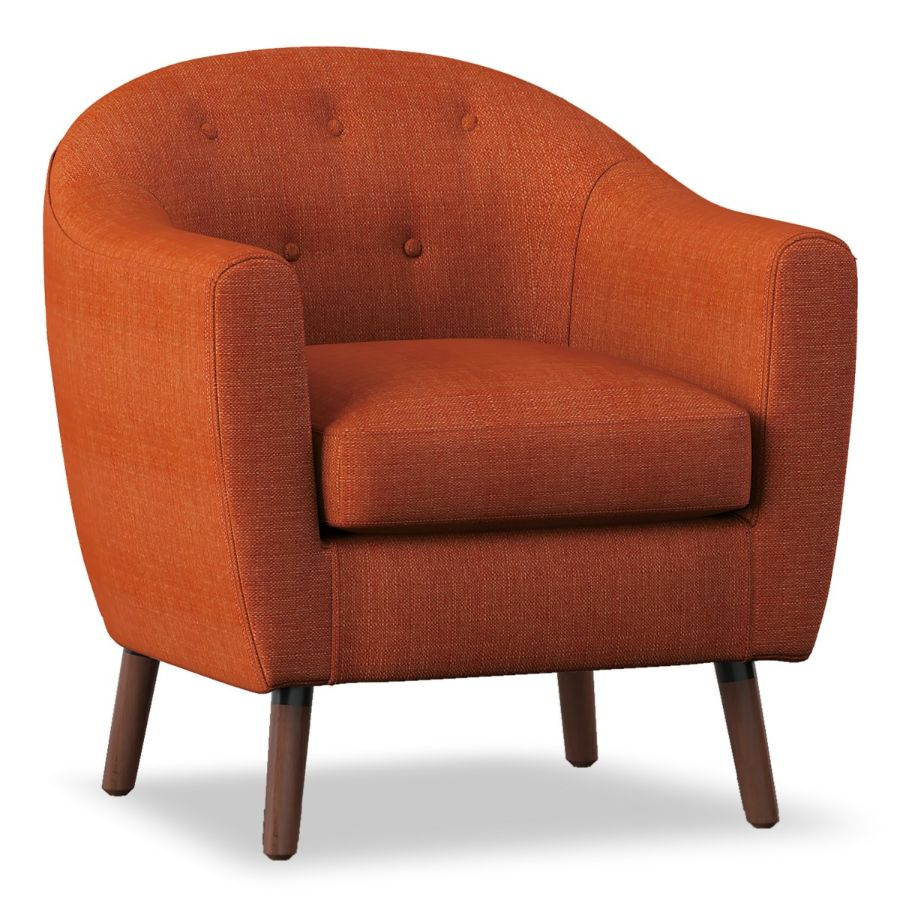 Homelegance 1192-RN Lucille mid century modern orange linen fabric accent chair