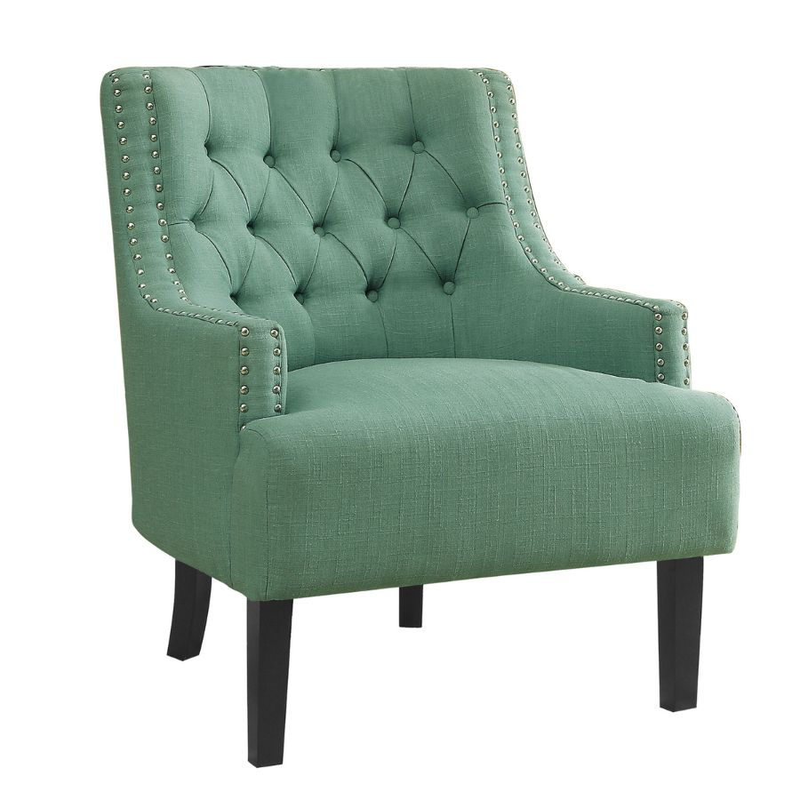 Homelegance 1194TL Charisma tufted back teal linen fabric accent chair nail head trim