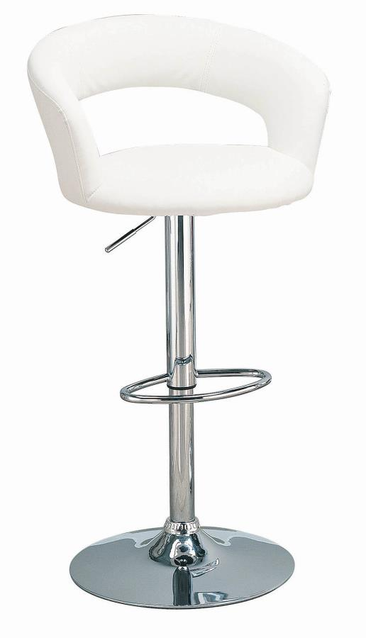120347 White leather like vinyl upholstered bar stool with chrome finish base , post and footrest