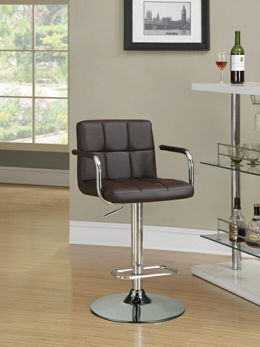 CST121099 Retro style chrome finish metal and brown tufted vinyl upholstered adjustable barstool with foot rest