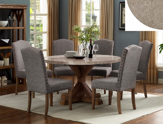 Detailed images & 1211T-54 7 pc Vespa brown finish wood round marble top dining table set