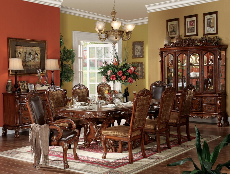 ACM12150 7 pc dresden collection cherry oak finish wood double pedestal dining table set with fabric and leather like vinyl upholstered chairs with decorative carved backs