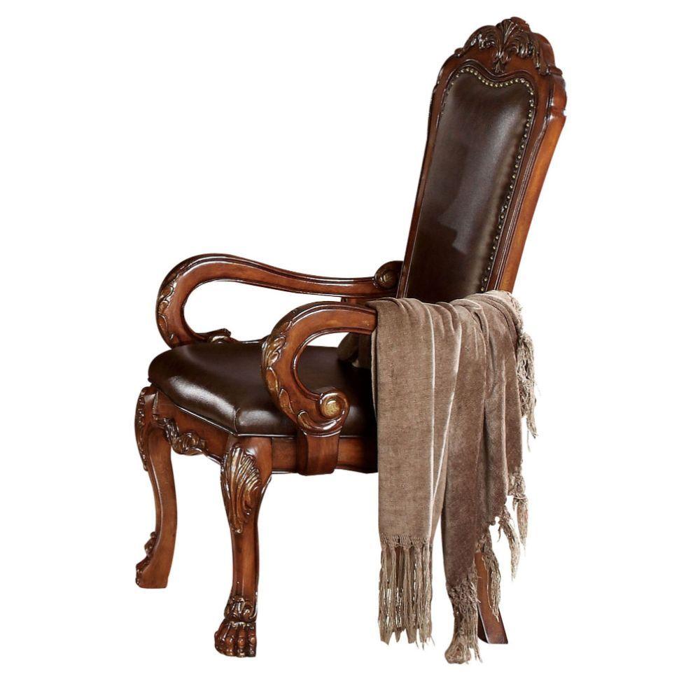 Acme 12154 Set of 2 Astoria grand kyree dresden cherry oak finish wood dining arm chairs