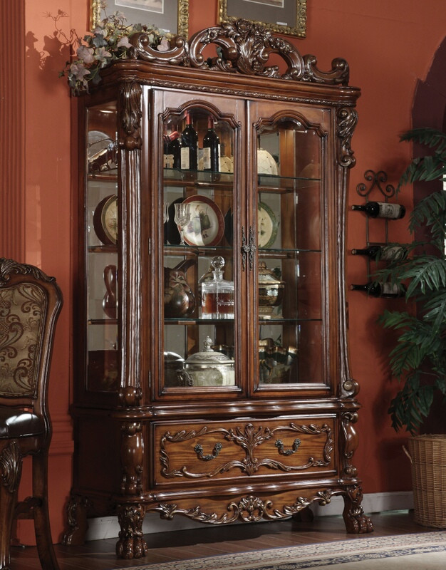 ACM12158 Dresden cherry oak finish wood curio cabinet with glass front doors and sides with mirrored back and lower drawer