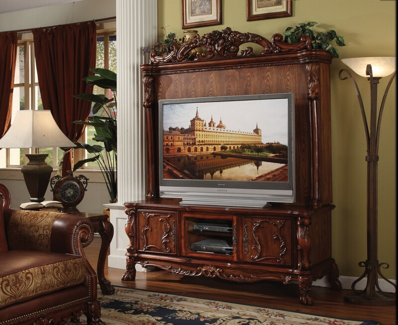 ACM12163 Dresden collection cherry oak finish wood TV stand with matching hutch and ornate scrolled designs