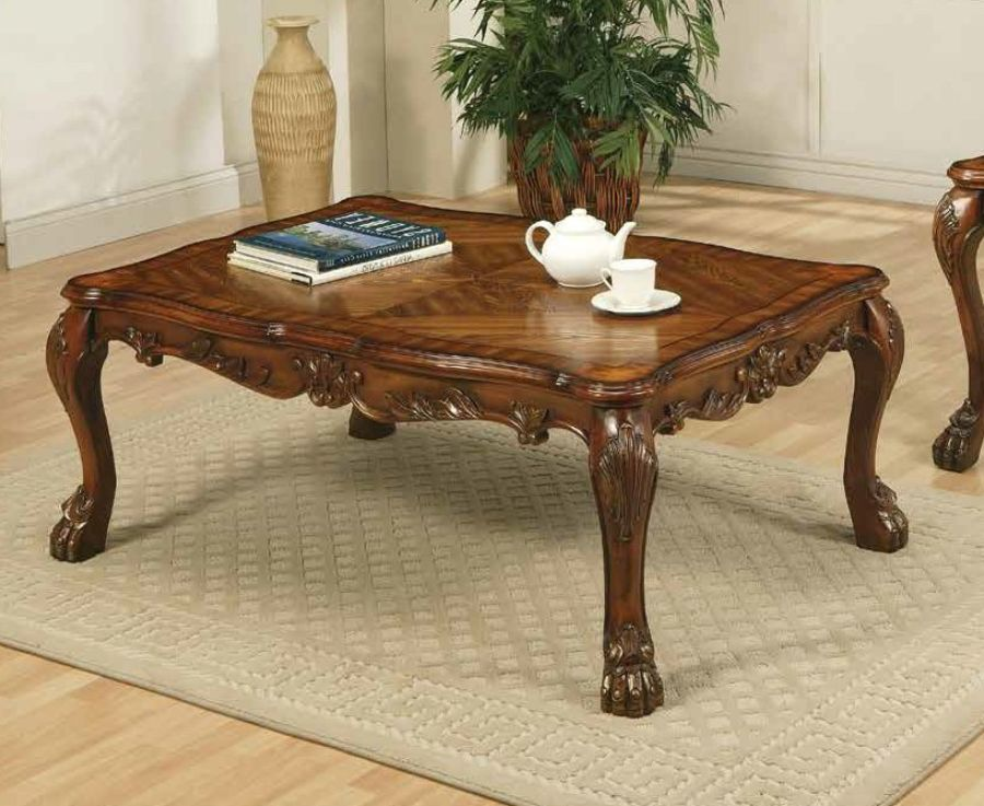 Acme 12165 A&J homes studio dresden cherry oak finish wood carved accents coffee table