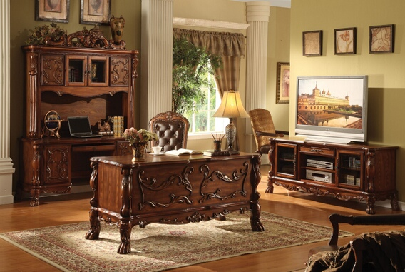 ACM12169 Dresden collection cherry oak finish wood detailed carvings ornate office desk with claw feet design