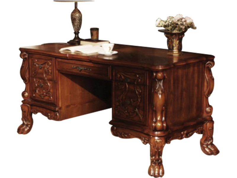 Acme 12169 Dresden cherry oak finish wood detailed carvings ornate office desk