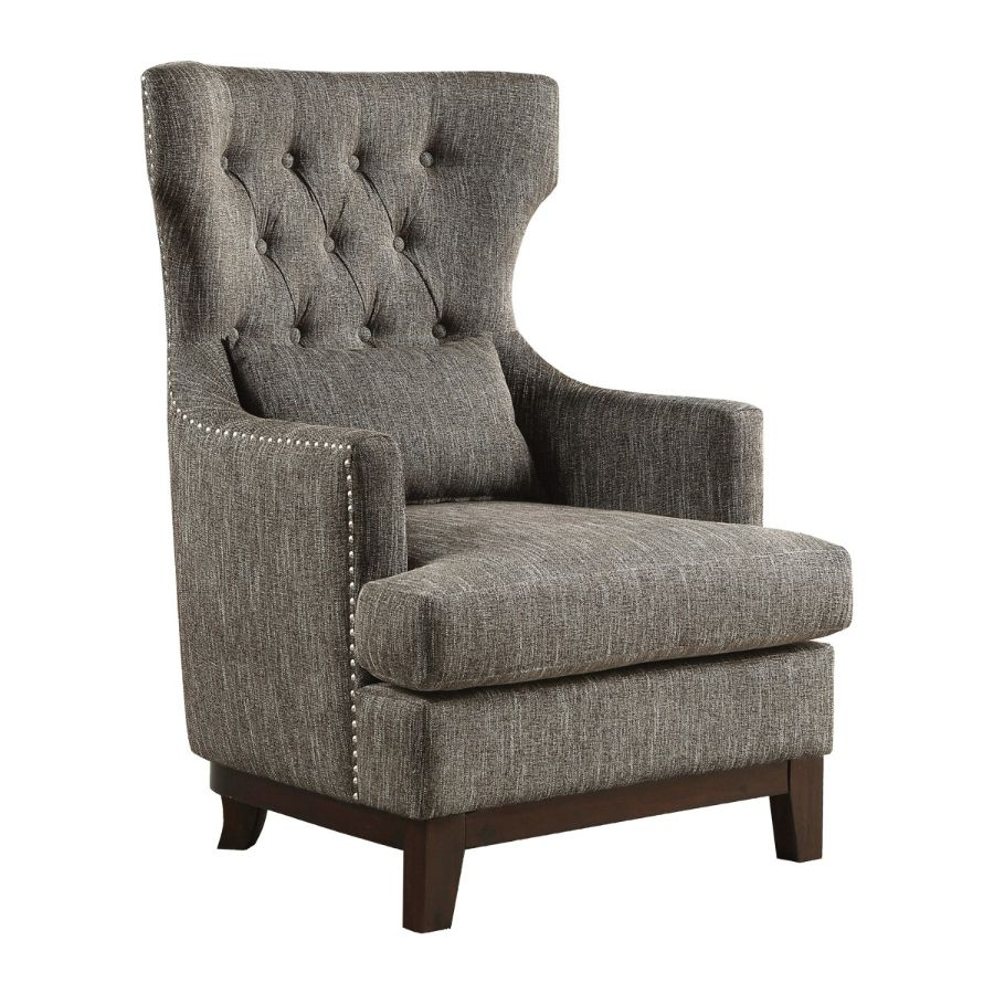 Homelegance 1217F3S Adriano high wing back style grey fabric accent chair nail head trim