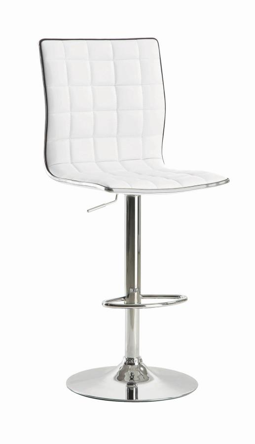 122089 Set of 2 White faux leather adjustable height bar stool chrome base