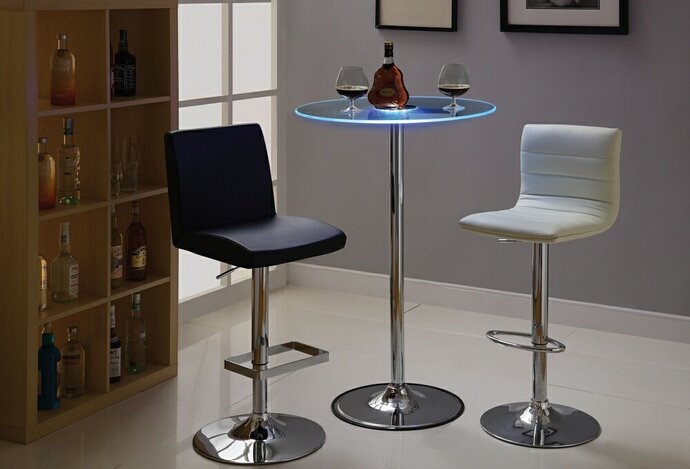 CST122400 Glass top color changing LED bar table with Chrome base