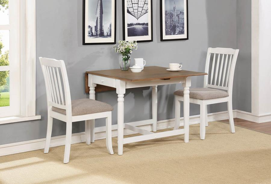 123001 3 pc Wildon home yvette hesperia pale ale white finish wood breakfast bistro drop leaf table set