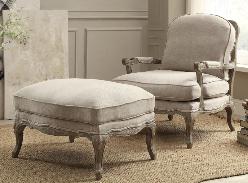 Home Elegance HE-1234-1-4 Parlier natural fabric gray weathered wood chair & ottoman