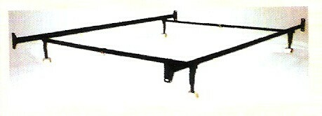 HB-1234HF Twin / full size non adjustable style bed frame with glides with headboard / footboard attachment