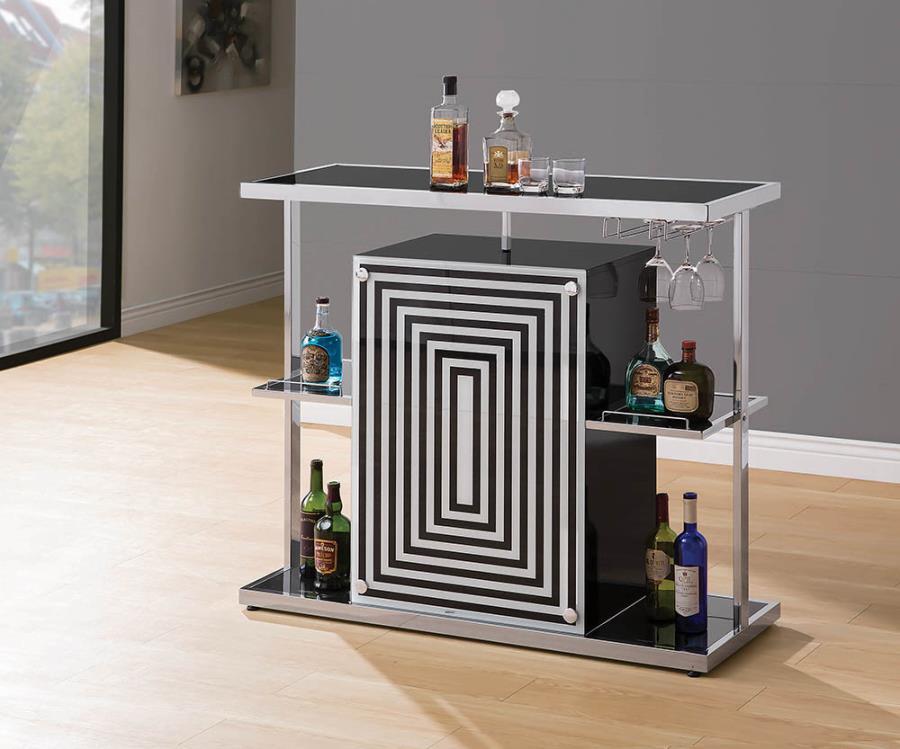 130076 Orren ellis modern style black white acrylic chrome accents bar unit