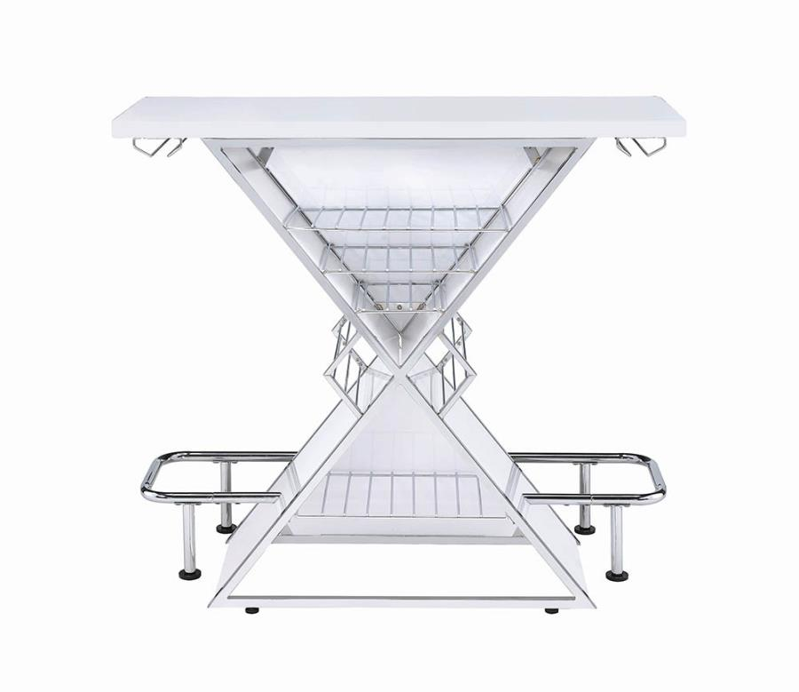 130078 Orren ellis lacoste modern style white and chrome finish metal triangle bar unit