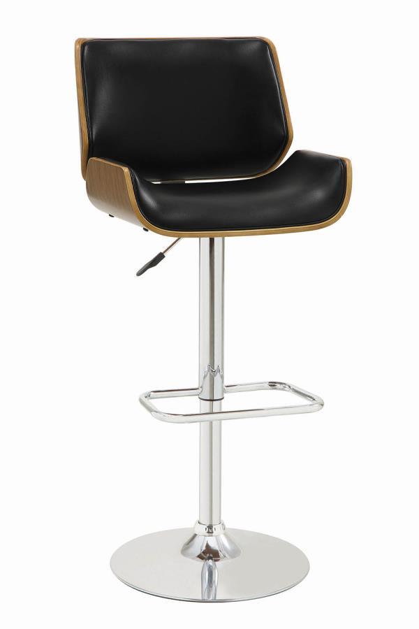 130502 Walnut finish wood black faux leather adjustable height bar stool chrome base