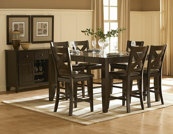HE-1372-36 7 pc crown point collection dark cherry finish wood counter height dining table set with upholstered seats