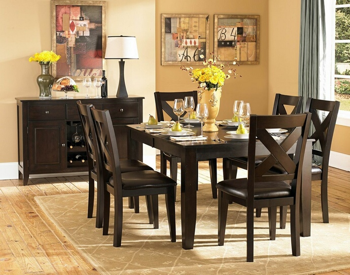 HE-1372-78 7 pc Crown Point collection dark cherry finish wood dining table set with upholstered seats