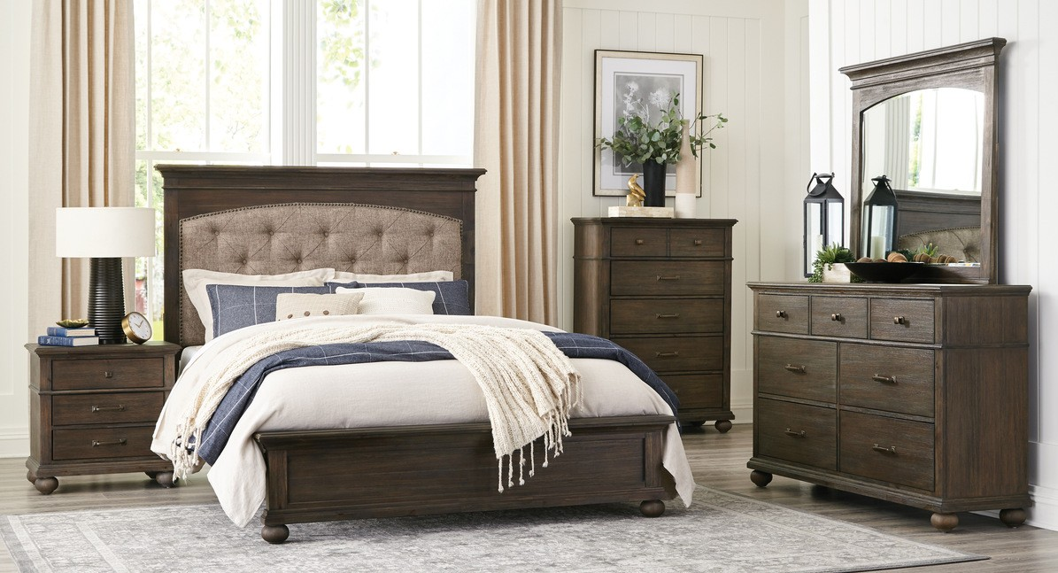 Homelegance 1400-4PC 4 pc Darby home co Motsinger rustic brown wire brushed finish wood bedroom set
