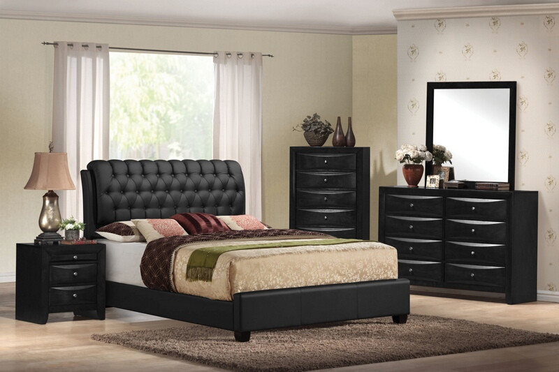 ACM14350Q 5 pc Ireland collection black finish wood queen bedroom set with black vinyl padded headboard