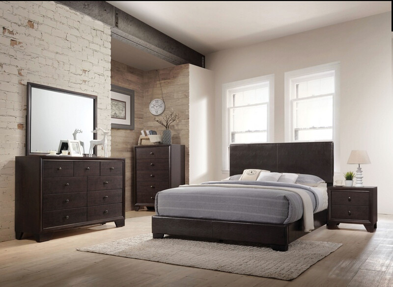 ACM14370Q5pc 5 pc Ireland collection espresso finish wood queen bedroom set with brown vinyl padded headboard