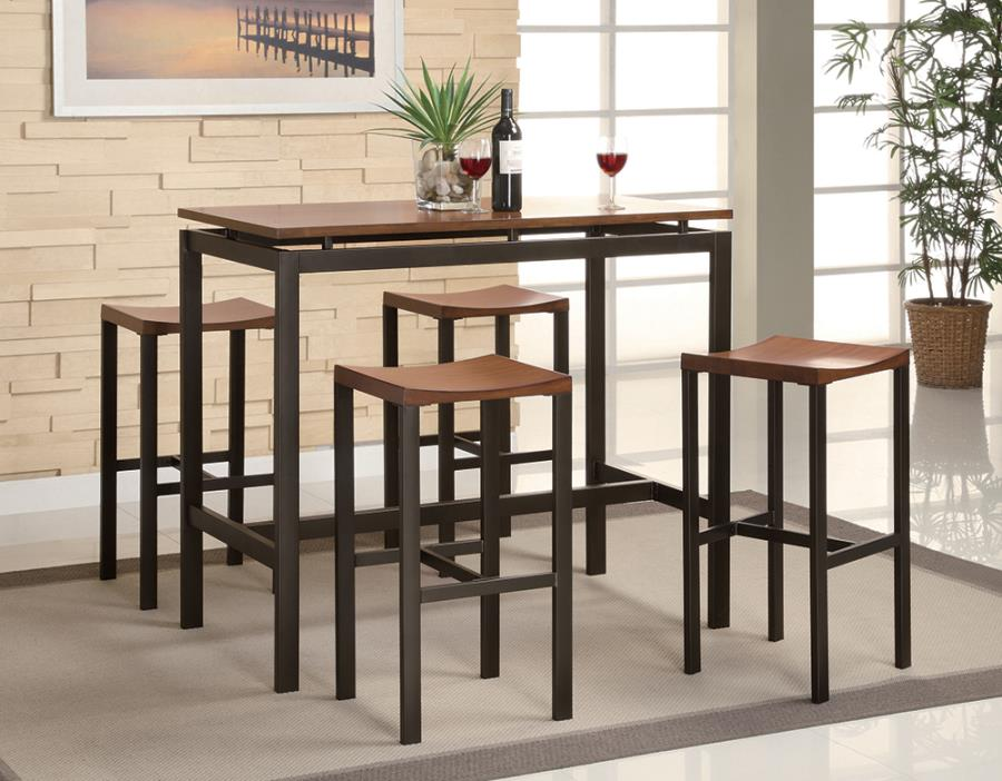 150097 5 pc Wildon home freedom swigart matte black metal and brown finish wood table set