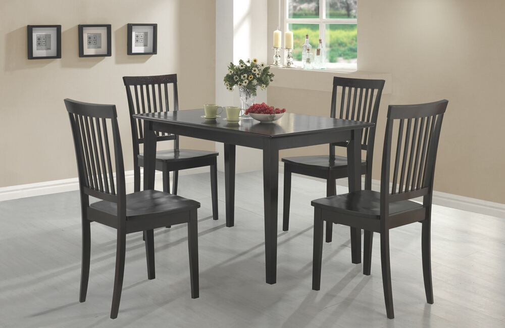 150152 5 pc Wildon home laurel oakdale espresso finish wood dining table set with wood seats