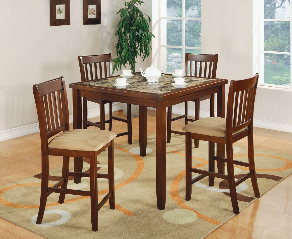 CST150154 5 pc Louis collection cherry finish wood faux marble counter height dining table set with padded seats