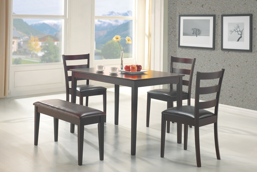 CST150232 4 pc tavaral collection espresso finish wood dining table set with vinyl padded seats with bench