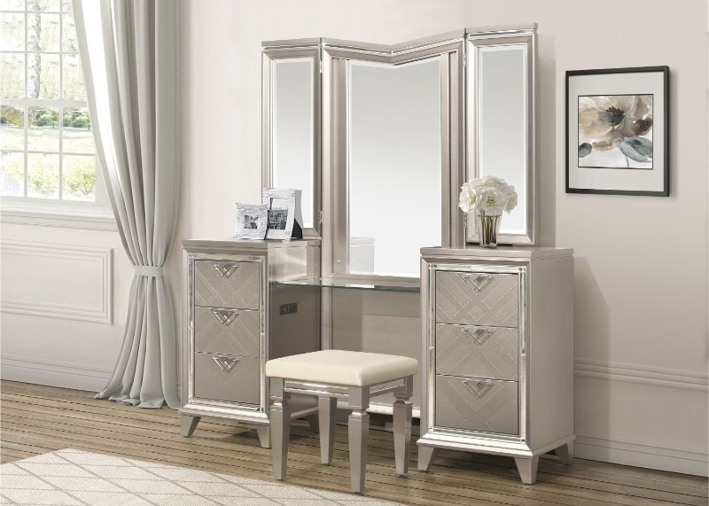 1522-1WF-14-15 3 pc Allura champagne finish wood bedroom make up vanity set
