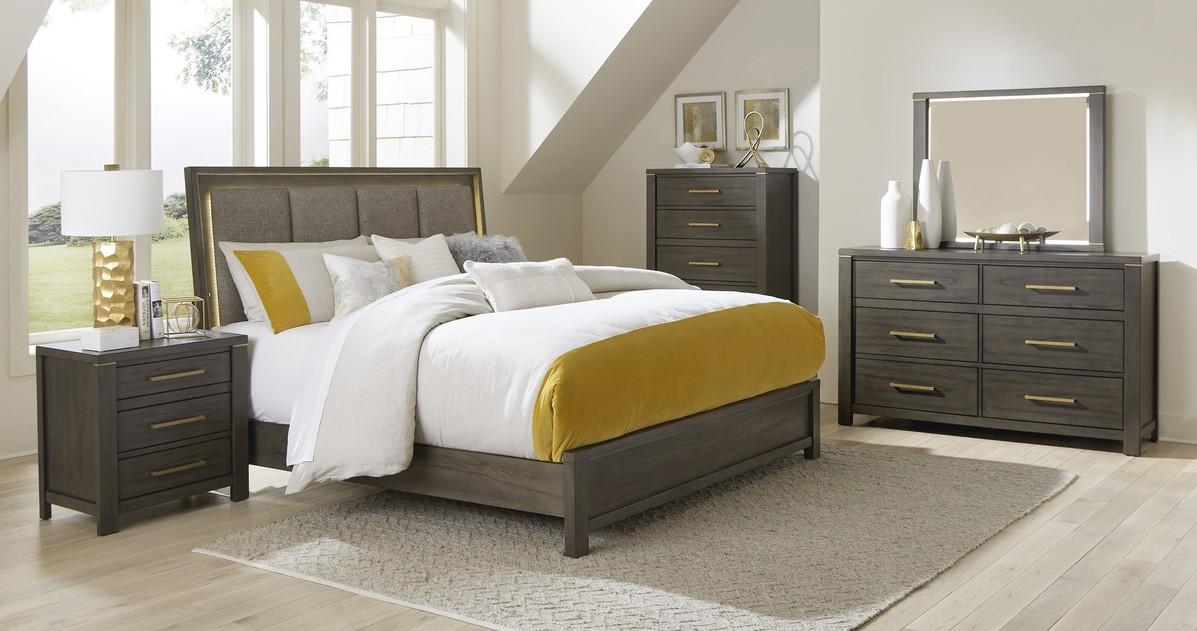 Homelegance 1555-4PC 4 pc Scarlett brownish gray finish wood mindy veneer queen bedroom set