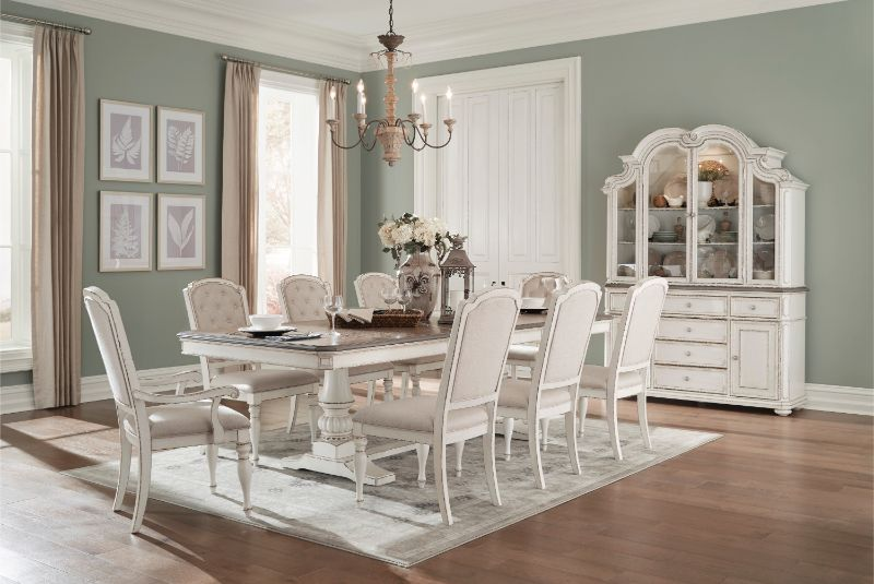 7 Pc Willowick Antique White And Grey Finish Wood Trestle Base Dining Table Set