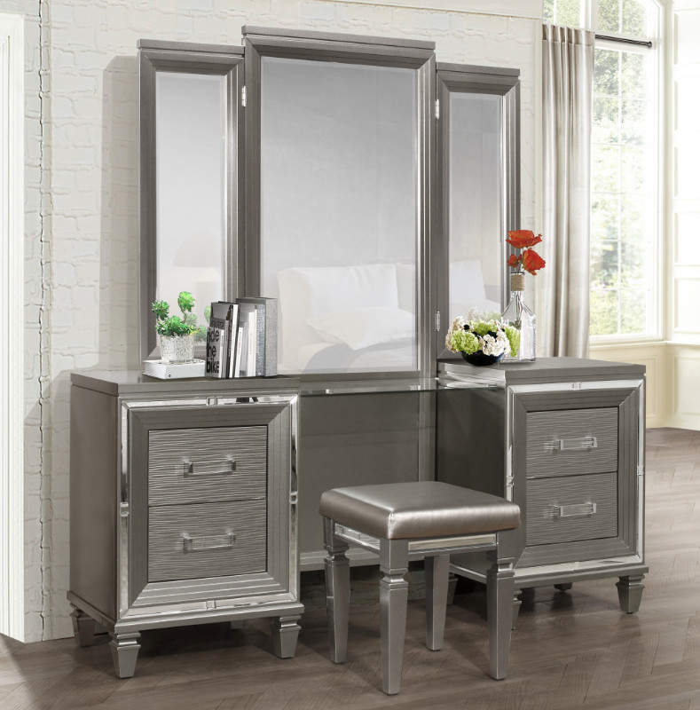 Excellent Homelegance 1616 14 15 3 Pc Allura Gray Finish Wood Bedroom Make Up Vanity Set Short Links Chair Design For Home Short Linksinfo