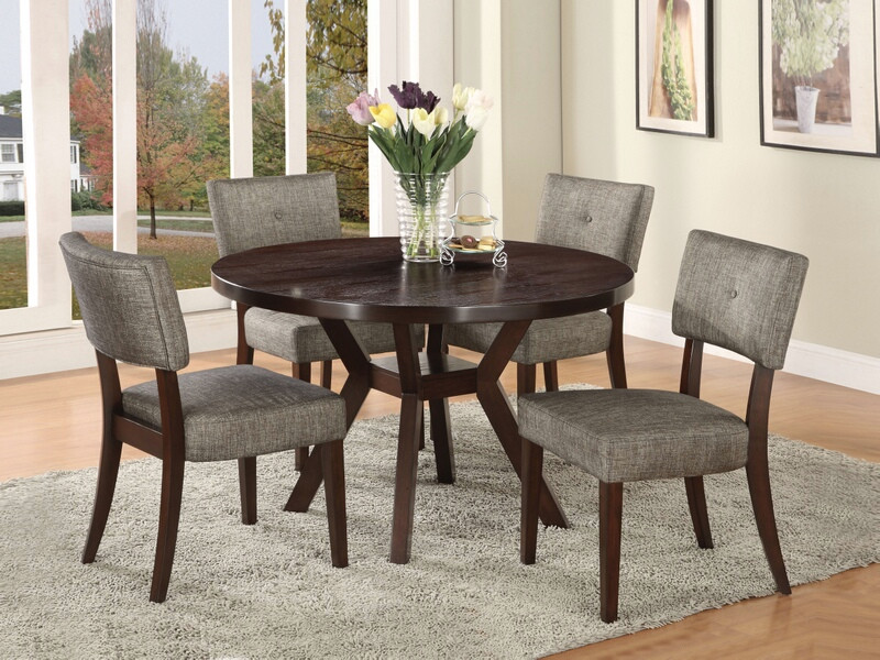 "Acme 16250-52 5 pc drake espresso finish wood 48"" round dining table set"