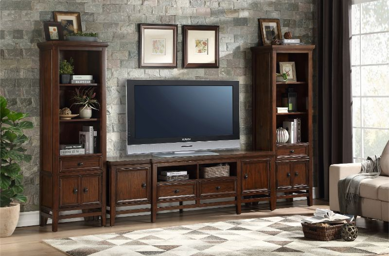 """16490 3 pc Frazier park cherry finish wood tv entertainment center 81"""" tv stand with side piers"""