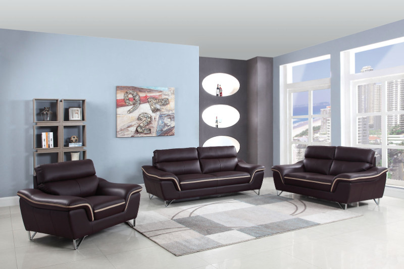 168BR-2PC 2 pc Red barrel studio trower modern style brown genuine leather sofa and love seat set