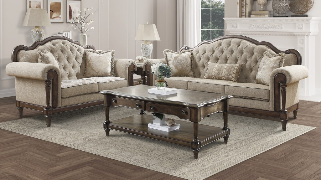 Homelegance 16829-SL 2 pc Heath court two tone textured fabric sofa and love seat set with brown finish wood trim