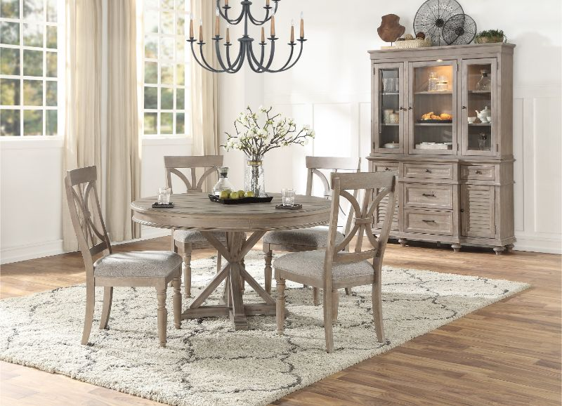 "1689BR-54 5 pc Cardano driftwood light brown finish wood 54"" round trestle base dining table set"