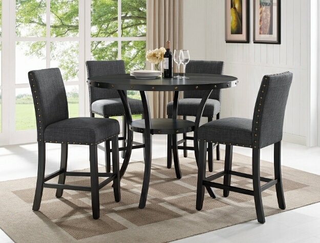 """1713DGY-T-48 5 pc Gracie oaks amy wallace dark gray finish wood round 48"""" counter height dining table set"""