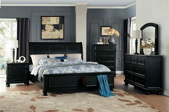 HE-1714BK-5PC 5 pc Laurelin collection black sand thru finish wood bedroom set
