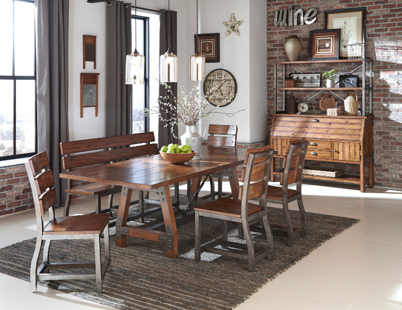 Home Elegance 1715-94 7 pc Holverson rustic brown finish wood trestle base dining table set
