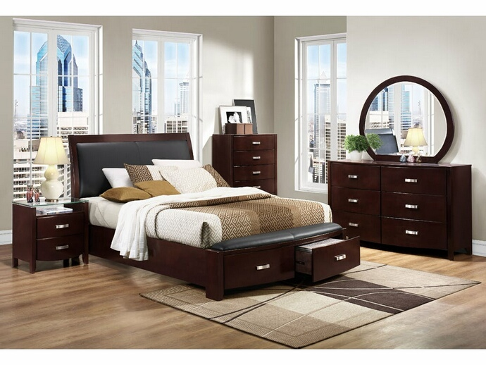 HE-1737NC-5PC 5 pc Lyric collection dark espresso finish wood bedroom set with curved footboard with drawers