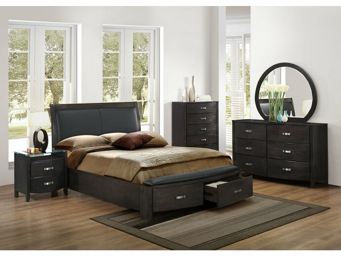 HE-1737NGY-5PC 5 pc Lyric collection brownish grey finish wood bedroom set with curved footboard with drawers