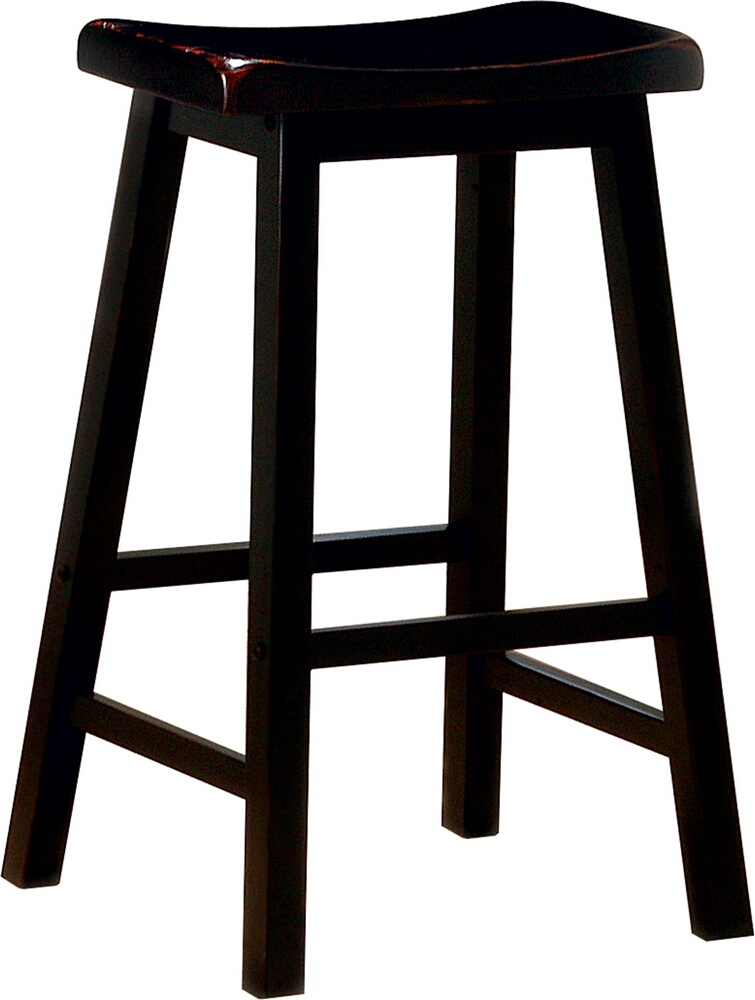 "CST180029 Set of 2 black finish wood 29"" bar height seat country style farmhouse style stools"