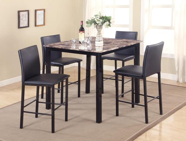 1817SET 5 pc Gracie oaks aiden faux marble finish wood top counter height dining table set