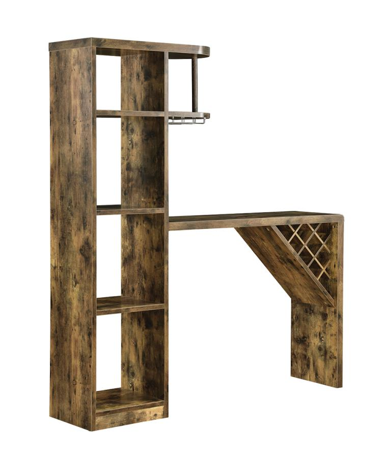 182127 Foundry select antique nutmeg finish wood home bar unit with storage and wine rack