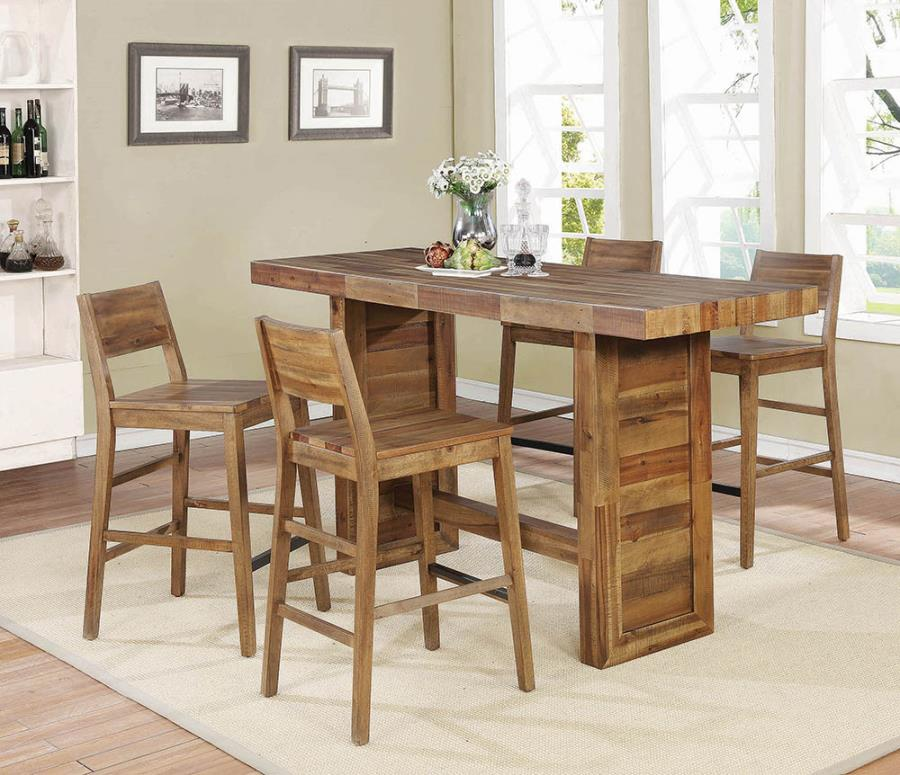 182191 5 pc Orleans rustic tucson varied natural finish wood bar height  dining table set
