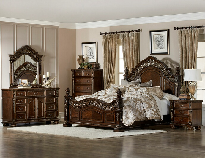 5 Pc Catalonia Collection Cherry Finish Wood Ornate Bedroom Set