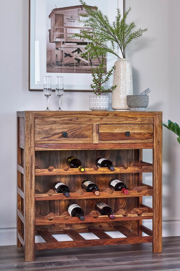 182400 Williston forge ignacio natural sheesham wood finish wine cabinet unit with drawers
